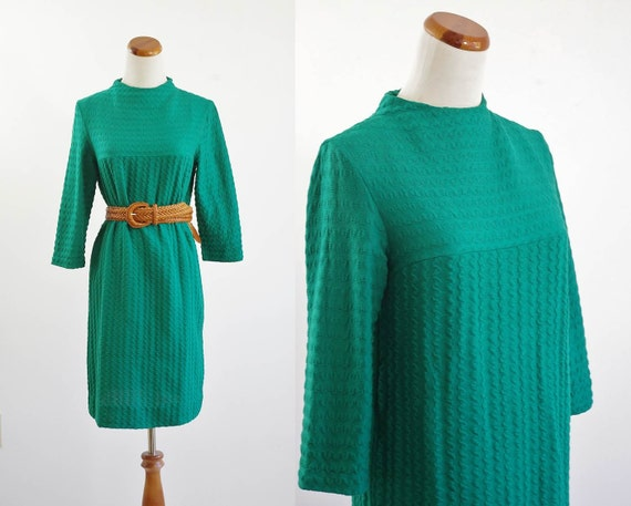 Vintage Emerald Green Knit Dress -- 50s 60s Smocked Shift -- Medium