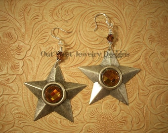 Cowgirl Earrings Silvertone Stars with Faceted Topaz Crystals