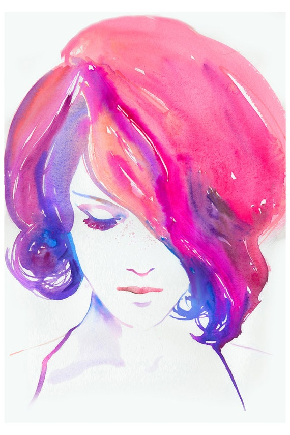 Fashion Illustration Print, Watercolour Painting Fashion Illustration Print, titled: Rosa