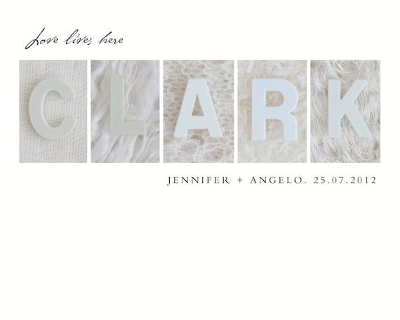 Wedding Gift Personalized, Custom Anniversary Gifts, Alphabet Photography Letter Art, Custom Name Print, Alternative Wedding Guest Book