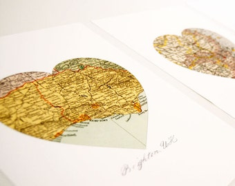 Custom Heart Map set of Two Prints - Wedding Gift Engagement Anniversary - Vintage Map Art Wall Decor