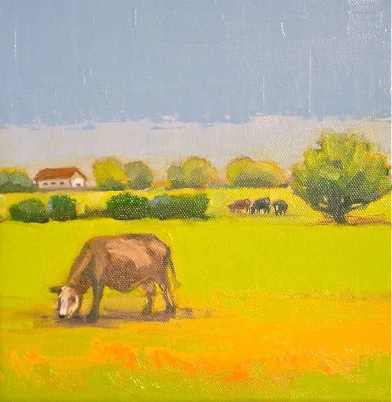 Pasture Land- 8x8 Original Oil Painting on Canvas- Cows, Barn, Landscape