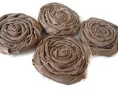 Set of 4 Brown Shabby chic Large Satin  Rolled fabric  flower