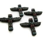 10 Large Brown Totem Pole Beads - LG316