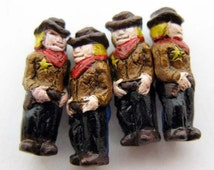 10 Tiny Ceramic Cowboy Beads - CB913