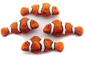 4 Large Clownfish Beads - orange