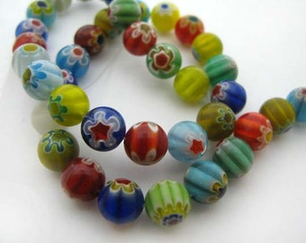 Mixed Solid Color Round Millefiori Beads - CG246