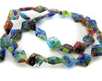 Small mixed diamond Millefiori Beads - CG135