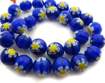 Blue with yellow and white flower Millefiori Beads - CG239