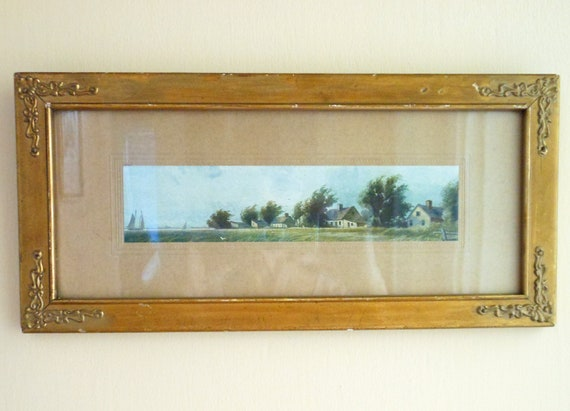 Vintage seaside picture, shabby chic gold frame, cottage decor, pale blue and green, beach decor