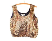 vintage Glam Rock Gold Sequin Silk Blouse Top