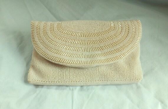 weddings clutch / vintage 1950s ivory pearl beaded purse clutch bag