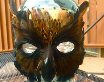 Feather Black Barn Owl Mask, owl mask, owl costume, adult costume, animal mask, halloween mask, halloween costume, bird mask, bird costume