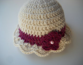 Crochet Baby Hat Cream and Berry Alpaca Wool Infant Hat