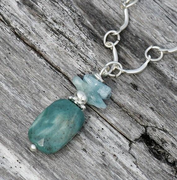 Natural Green Necklace, Ocean Jasper, Blue Aquamarine, Beaded, Handmade, Spring, Summer