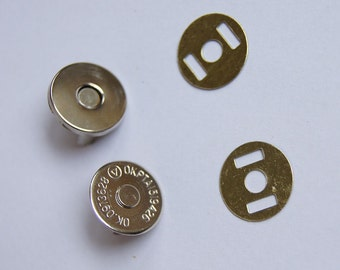 10 Sets 14mm  Extra Thin Magnetic Snaps, Nickel Finish, 10 Set Pack, Purse Handbag Bag Making Hardware Supplies