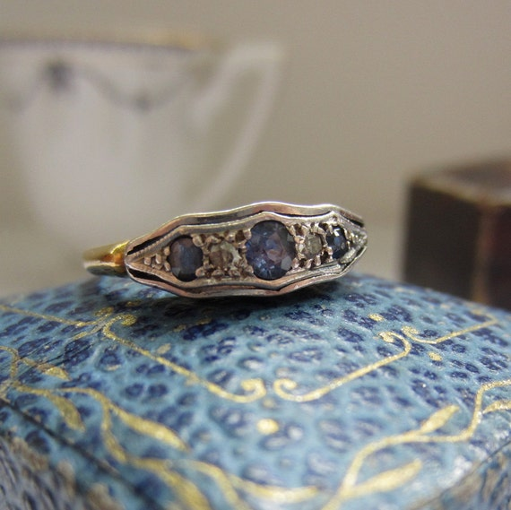 Victorian Diamond Ring. Sapphires and Diamonds. Beautiful Carved Setting. Addy on Etsy.