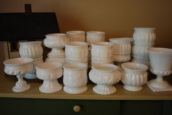Vintage Milk Glass Compotes, Giant Instant Collection, 25 Pieces