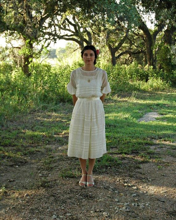 Vintage Wedding Dress...Darling 1920's Sheer Linen Short Wedding Dress with Slip