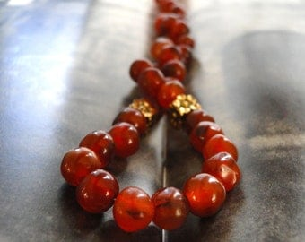 Jewelry Necklace, Rustic Vintage African Carnelian Gemstone Necklace, Brass Trimmings, Gorgeous Layering Necklace