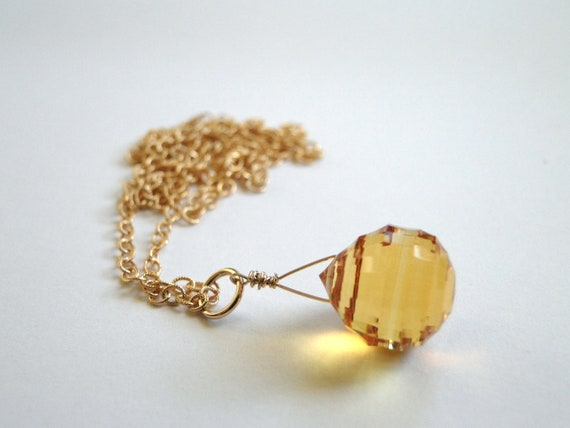Statement Necklace - One of a Kind, Citrine Gemstone, Gold, Pendant Necklace, 14k Gold, Accessories