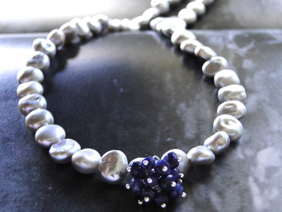 NEW Fall Collection - Sapphire and Freshwater Pearl Necklace, Gift for Her, Wedding, Bridal, Luxe Jewelry