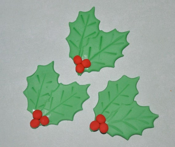 Christmas Holly Leaf and Berry Fondant Toppers for Cupcakes
