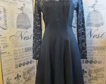 REDUCED ... Vintage 80s Early 90s LBD Illusion Mini Dress / lace / Goth / rocker