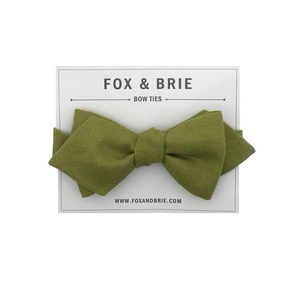 Olive Linen Pointed Bow Tie