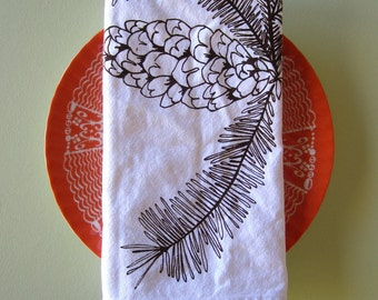 Cloth Napkins - Screen Printed Cloth Napkins - Eco Friendly Dinner Napkins - Pinecone - Reusable Cotton Cloth Napkins - Woodland