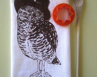 Tea Towel - Screen Printed Flour Sack Towel  - Eco Friendly Cotton Towel - Soft and Absorbent - Woodland Owl - Classic Flour Sack Towel