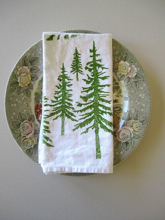 Screen Printed Organic Cotton Cloth Napkins - Eco Friendly Alpine Dinner Napkins - Woodland Forest Napkins - Set of 4