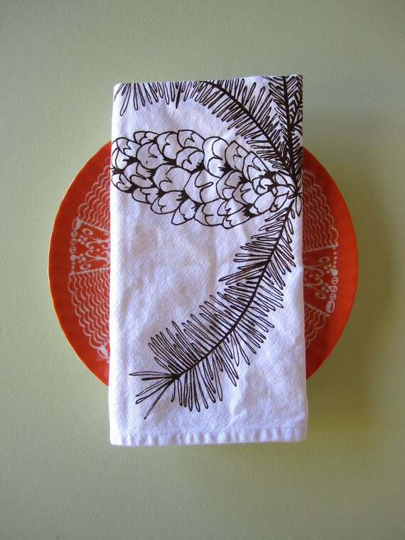 Screen Printed Organic Cotton Cloth Napkins - Eco Friendly Dinner Napkins - Pinecone Illustration - Washable and Reusable - Christmas Party