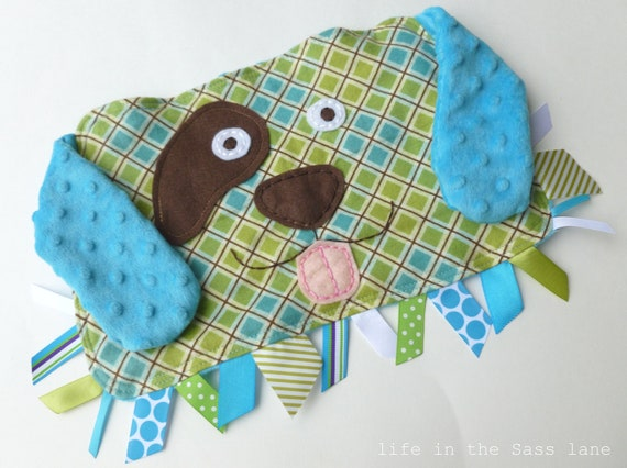 Ribbon Tag PUPPY DOG Blankie in Turquoise and Green Plaid Argyle Flannel and Minky Blanket Lovey Lovie Baby Gift