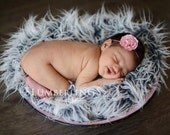 Frosted Gray Mongolian Faux Fur Photography Prop Rug Newborn Baby Toddler 27x30