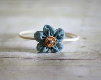 Blue Fabric Flower Skinny Headband