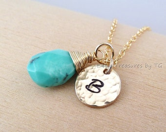 Custom Initial and any birthstone necklace. Gold, Silver or Oxidized silver. Turquoise. Birthstone necklace. Personalized. Custom. Gift
