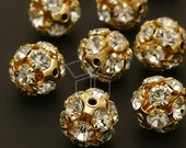 CU-019-GD / 2 Pcs - Sparkling Rhinestone Ball Bead (Crystal), Gold Plated over Brass / 12mm