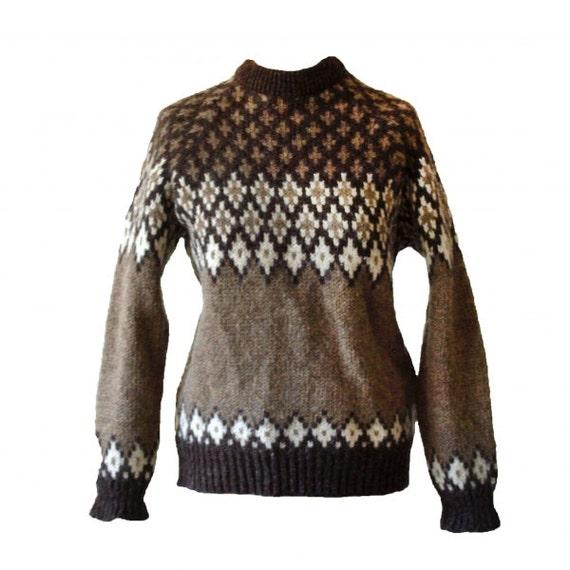 Vintage 1970s brown Nordic Scandinavian patterned chunky Scottish pure wool jumper medium
