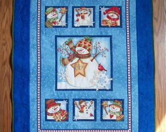 Believe Snowman Quilted Wall Hanging