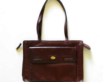 Vintage 1970s Maroon Dark Red Leather Business Purse Handbag