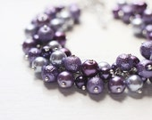 Purple Wedding Bridesmaid Jewelry Pearl Cluster Bracelet - Purple Fantasy