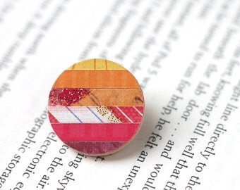 Round Colorful Brooch Made with Scrapbook Paper Strips in Red and Orange - Warm Autumnal Tones