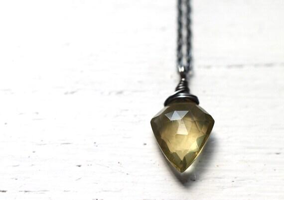 Arrow - Olive Quartz Oxidized Sterling Silver Necklace - Rustic Beer Quartz Gemstone Wire Wrapped Pendulum Pendant