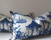 Set of Two - Chinoiserie Pillows -  12 x 22 inch - Decorative Pillows- lumbar - Blue - Cream - Robert Allen - Canton Bazaar - ready to ship
