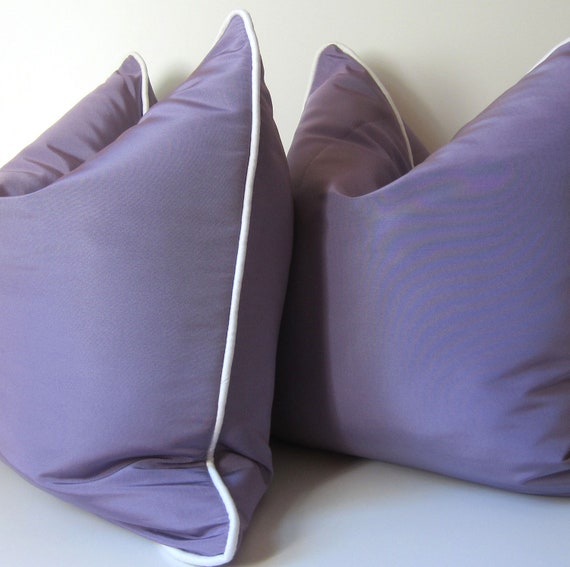 Set of Two - Decorative Pillows - 18 inch -  Lavender Silk Pillow - White Silk Piping - Lilly Pulitzer inspired