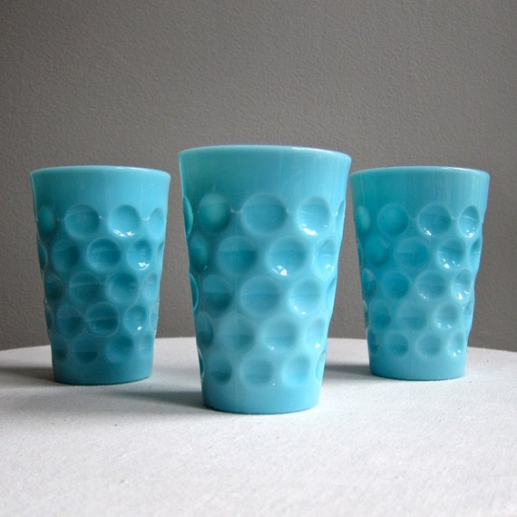 Three Turquoise Blue Milk Glass Tumblers Thumbprint Pattern 1950s