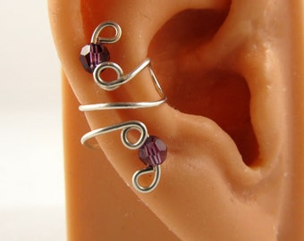 Amethyst February Or Birthstone Choices Sterling Ear Cuff  Swarovski Crystals Handmade