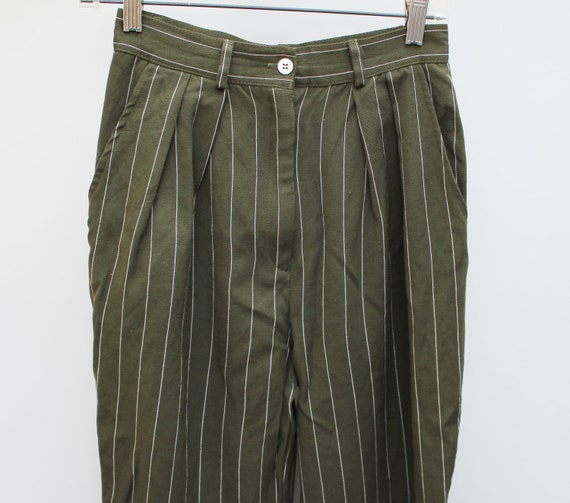 Vintage 80s High Waist Pleated Tapered Wool Pants with White Pin Stripes size 8