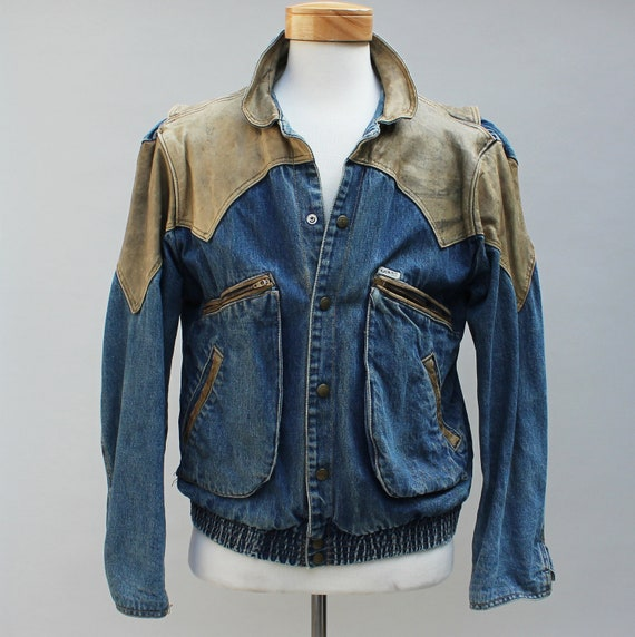 80s Vintage Men's Guess Brand Denim and Leather Jacket - MEDIUM